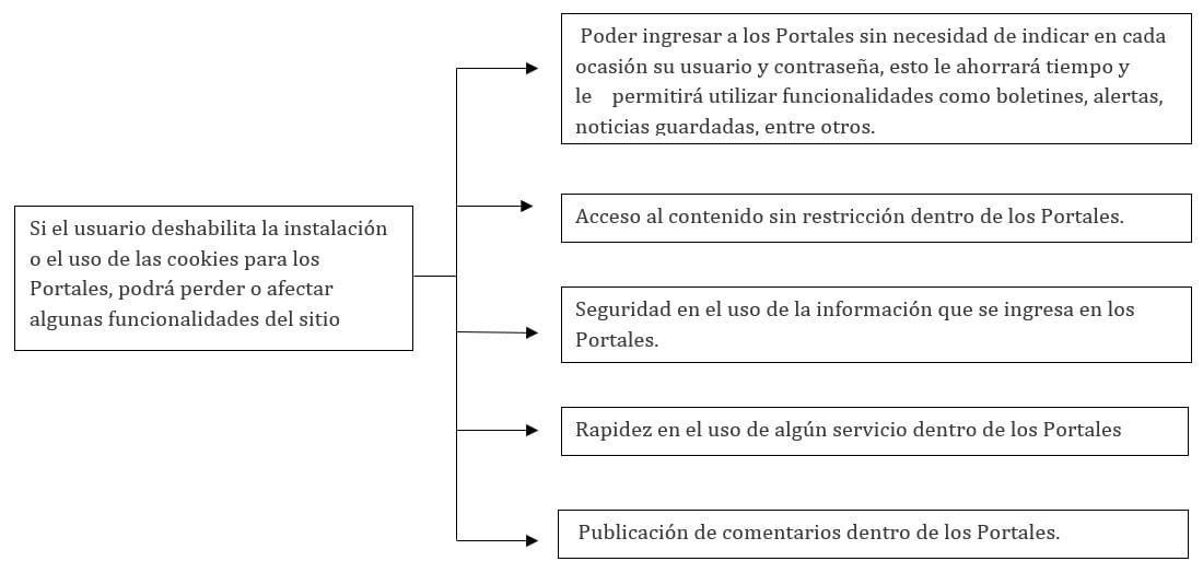 Si el usuario deshabilita la instalación o el uso de las cookies para los Portales, podrá perder o afectar algunas funcionalidades del sitio